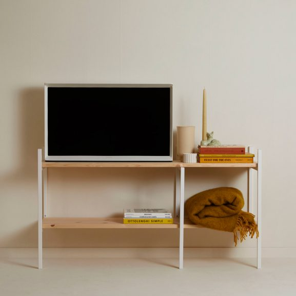 Tv bench in steel and pine by Tonn furniture